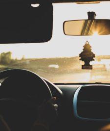 car journey sunset